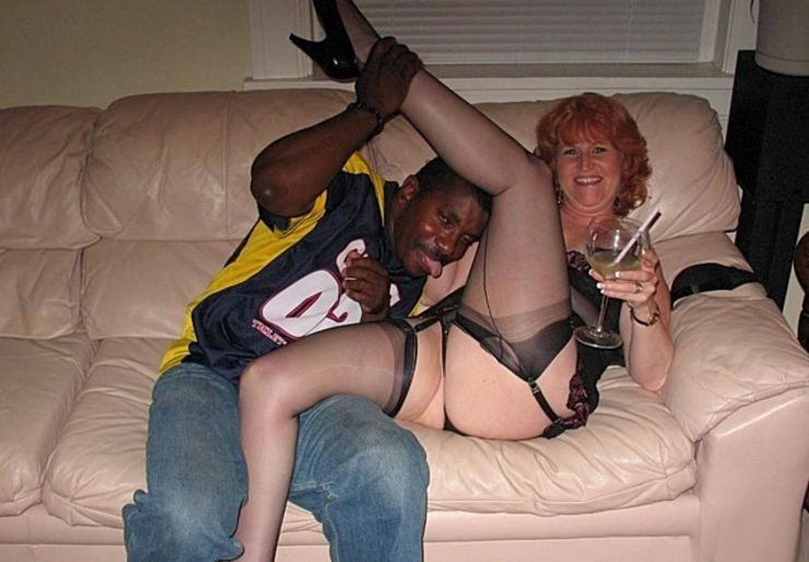 Mature Woman Getting Horny at Party Makes Out with Black