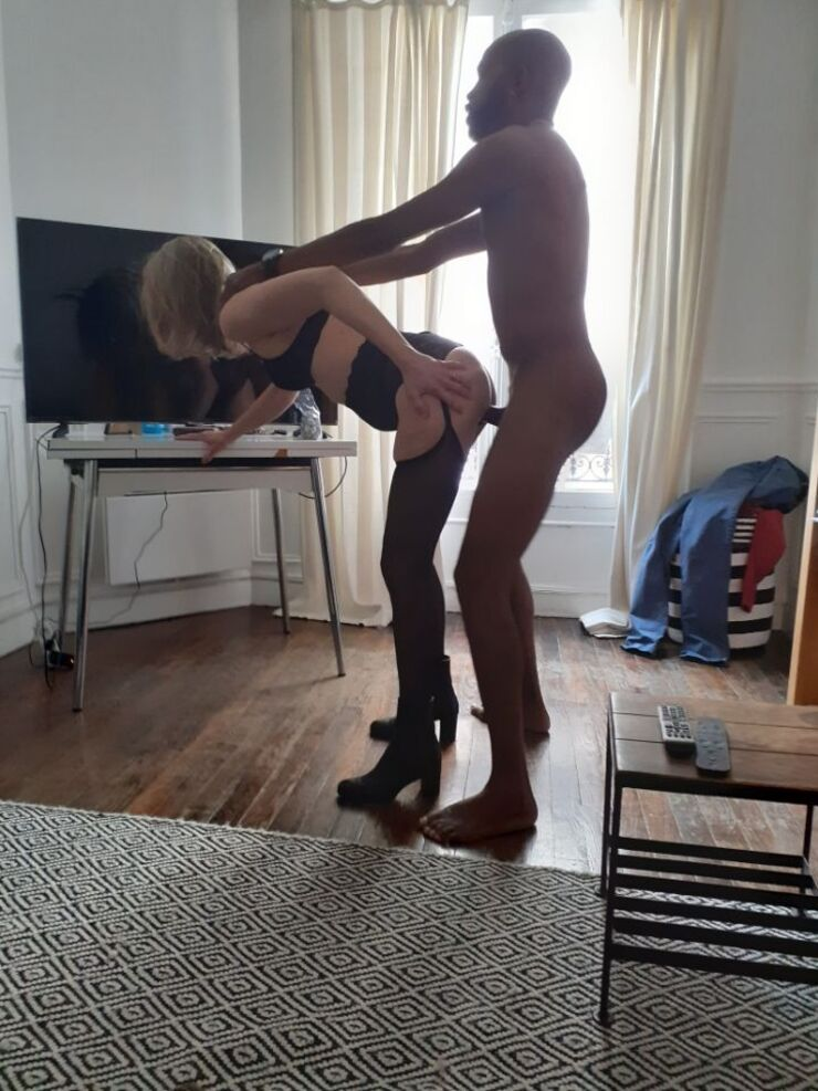 Wifey bends over and takes BBC in her juicy pussy